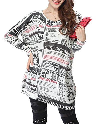 Très Chic Mayo Landa Oversize sin Manga Larga Long Camisa Graffiti Diseño Casual Camiseta Blusa Jersey Weiß