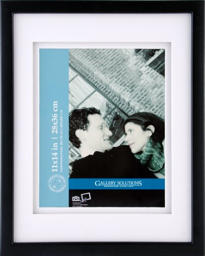 Gallery Solutions Black Gallery Frame with Mat, 11-Inch by 14-Inch Matted to 8 by 10-Inch