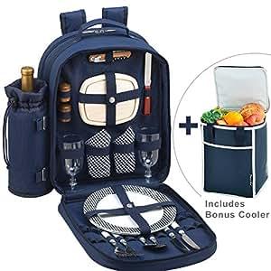 Picnic en Ascot Original Deluxe–Mochila equipada para 2con tapa de Bono Cooler–diseñado y montado en California