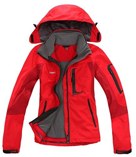 SYRINX Damen 3 in 1 Winddicht Wasserdicht Atmungsaktiv Hardshelljacke Outdoor Sport Camping Wandern Trekking Jacke (Large, Rot)