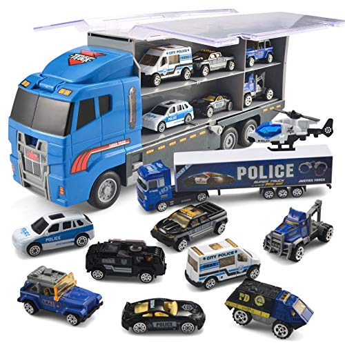 JOYIN 10 in 1 Die-cast Police Patrol Rescue Truck Mini Police Vehicles Truck Toy Set in Carrier Truck (Best Of Police And Fail)