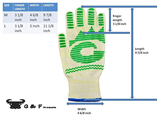 G & F 1684L Dupont Nomex  & Kevlar  Heat Resistant Gloves, Oven Gloves, BBQ Gloves, Large, 1 Pair by G & F Products (Image #5)