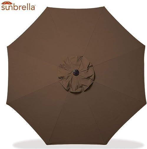 Bayside21 Sunbrella 9Ft Market Umbrella Patio Outdoor Table Umbrella with Auto Tilt and Crank, 8 Ribs, Sunbrella Coffee 9 , Sunbrella Coffee
