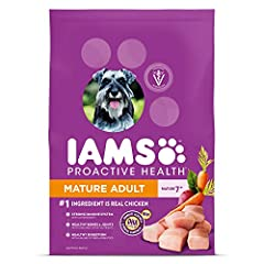 IAMS PROACTIVE HEALTH Mature Adult Dry Dog Food is veterinarian recommended and made with real ingredients. Our recipe starts with farm raised chicken and includes wholesome grains and veggies. It's formulated to boost the immune system of ol...