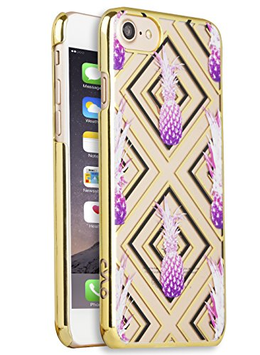 Haute Fashion (CYLO HAUTE Metallic Printed iPhone 7 Case, Lightweight with Vibrant colors and Trendy Fashion Prints (Pink Pineapple/ Black & Gold))