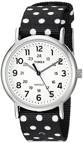 Timex Women's TW2P86600 Weekender Reversible Black/White Dots Nylon Slip-Thru Strap ()