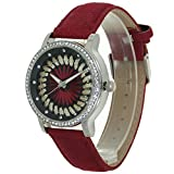 TimeMax Silk Embroidery Crystal Pointers Dial Rhinestone Mounted Case Convex Prism Crysal Women Japanese Quartz Analogue Fashion Stylish Casual Girls Dress Wristwatch Presents Business Gifts