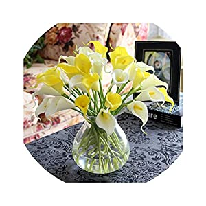 Lucky-fairy Luyue 15Pcs/Lot Artificial Flowers Calla Lily PVC Real Touch Bride Bouquet Flower Home Wedding Decor Flowers & Wreaths Mix Color 22