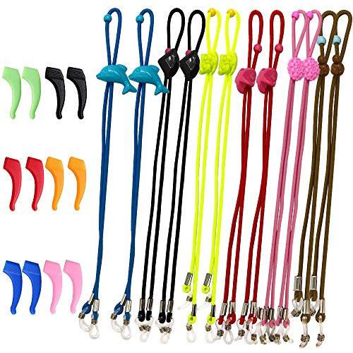 SENHAI 12Pcs Kids Glasses Strap & 6 Pair Silicone Ear Hooks, Adjustable Children Sports Eyeglass Straps Anti-slip Sunglasses Retainer for Boys Girls (Strap For Children Glasses)
