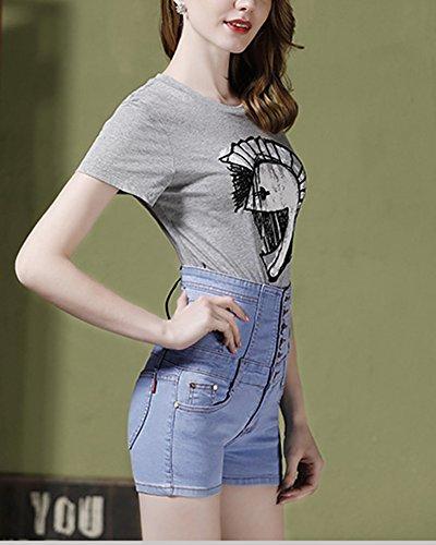 Blu Alta Posteriore A Con Zixing Corti Pantaloni Donna Cintura Vita 2 Da Bassa 8II4Pqw