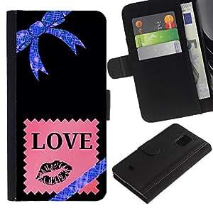 Estrellas Universo Bow Pink Love- la tarjeta de Crédito Slots PU Funda de cuero Monedero caso cubierta de piel Para Samsung Galaxy S5 Mini (Not S5), SM-G800