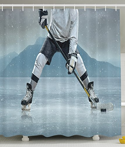(Ambesonne Husband Gifts from Wife Ice Hockey Player on Ice Skating Athletic Activity Frozen Outdoors Equipment Snow Game Winter Team Helmet Rink Man Sports Shower Curtain, Gray Denim)