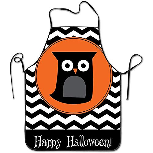 1y2x Happy Halloween Striped Owl Bird Aprons Bib Adult Lace Adjustable Polyester Chef Cooking Long Full Kitchen Aprons for Indoor Restaurant Cleaning Serving Crafting Gardening Baking BBQ Grill]()