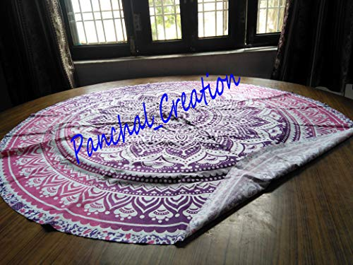 Panchal world Indian Mandala Round Beach Throw Tapestry Hippy Boho Gypsy Cotton Tablecloth Beach Towel, Round Yoga Mat C-05 (Gypsy Clothes 05)