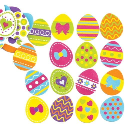 Easter Egg Foam Stickers for Children Creative Art Supplies & Decorations/Card Making (Pack of 125) (Baker Card)