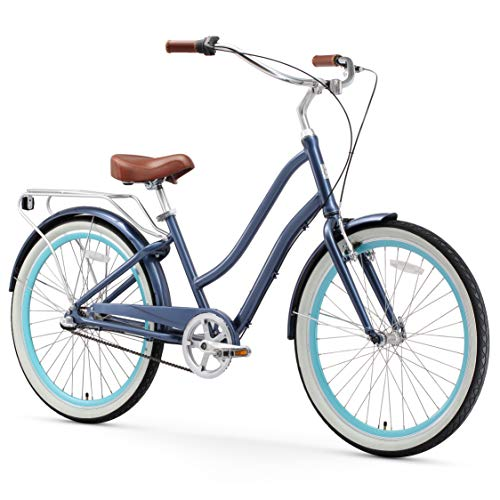 sixthreezero EVRYjourney Women's 3-Speed Step-Through Hybrid Cruiser Bicycle, Navy w/Brown Seat/Grips, 24