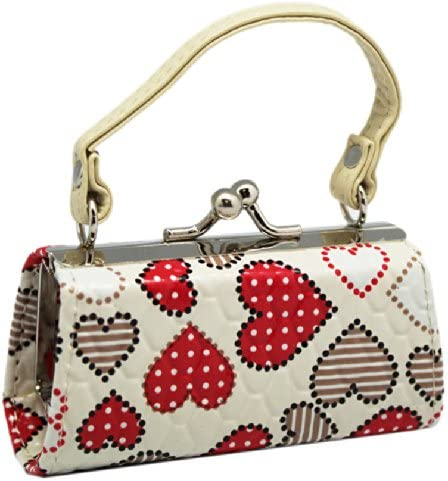 White Heart Patches Mini Snap Purse for Coins