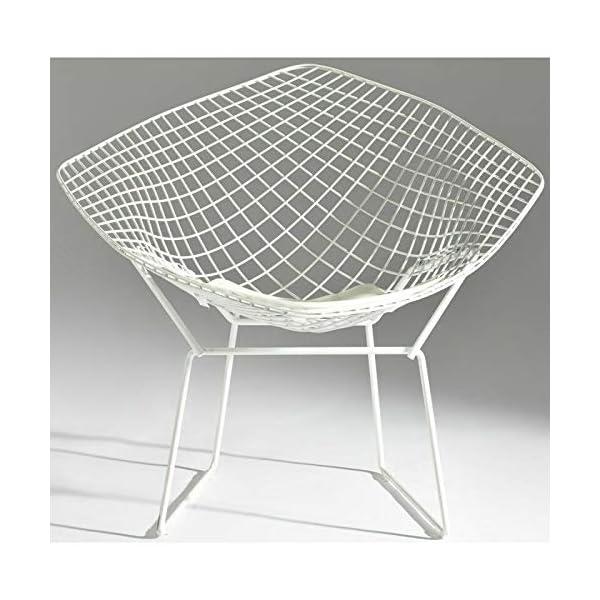 ElleDesign Fauteuil Bertoia Diamond Structure vernie Blanc Total White Coussin Blanc