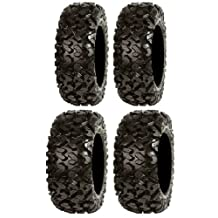 Full set of Sedona Rip Saw 26x9-14 and 26x11-14 ATV Tires (4) by Powersports Bundle