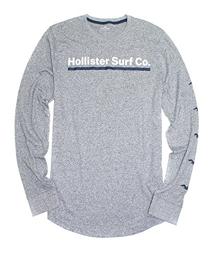 Hollister Men's Logo Graphic Supersoft Long Sleeve Tee (130) (Large, Heather Grey)