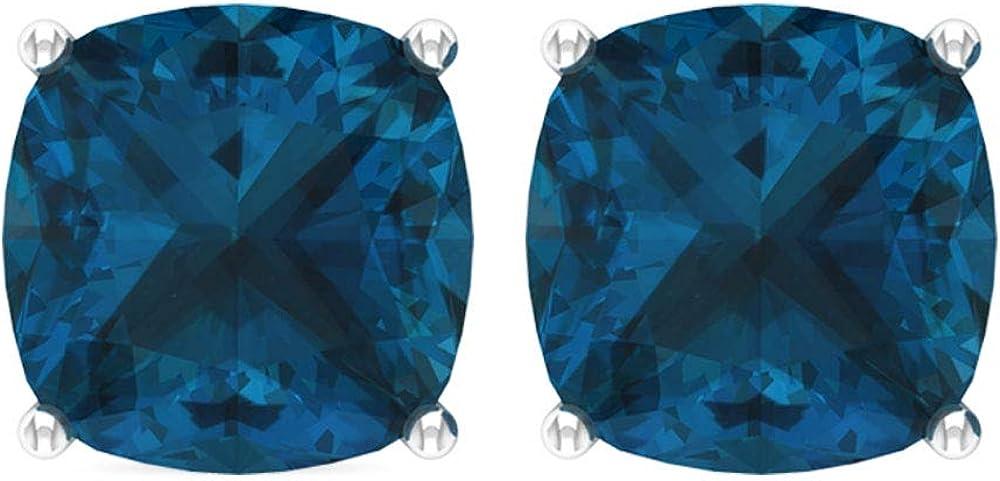 Pendientes de topacio azul con corte cojín de 8,5 quilates, minimalista, estilo de oficina, certificado solitario, pendientes de piedra preciosa, tornillo hacia atrás
