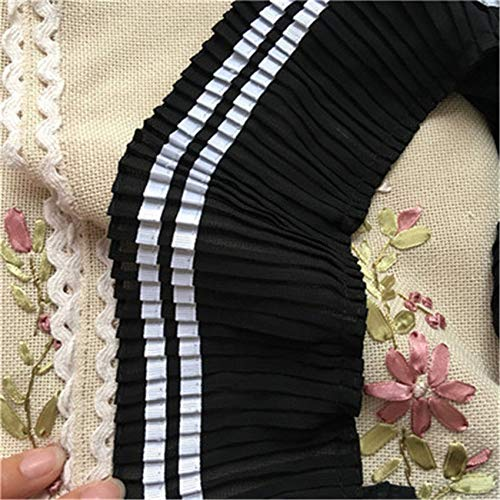 5 Yards Black and White Ruffle Chiffon Trims Pleated Lace 3.34 inches Width Skirt Hem Craft Sewing Decor DIY Costume Accessories Ribbons ()