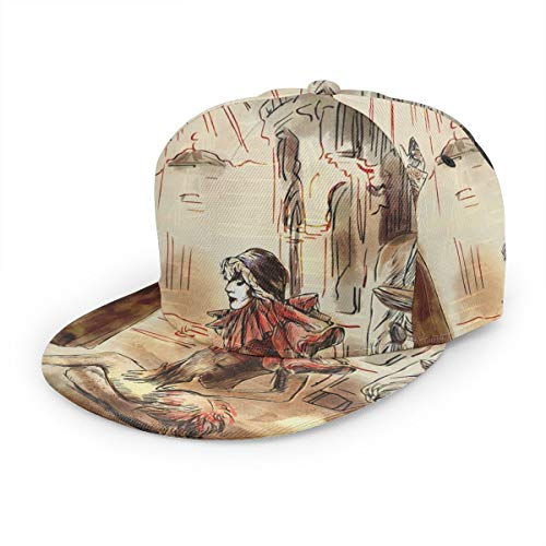 COMputer998 Commedia Dell Arte - an Hand Painted Flat Baseball Cap Men Women-Adjustable Printing Twill Hat Suitable for Sports,Outdoor,Everyday and ()