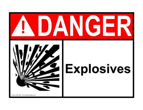 ComplianceSigns Vinyl ANSI DANGER Label, 7 x 5 in. with Explosives Info in English, White
