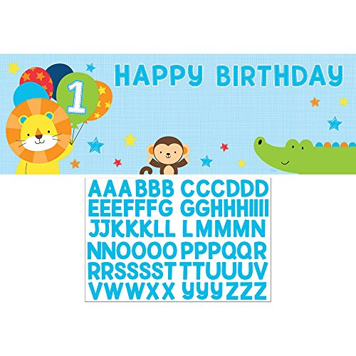 Creative Converting 324604 One Is Fun-Boy Giant Happy Birthday Party Banner with Stickers ()
