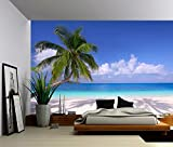Picture Sensations Canvas Texture Wall Mural, Seascape Palm Beach Summer Tropical Tree, Self-adhesive Vinyl Wallpaper, Peel & Stick Fabric Wall Decal - 144x96
