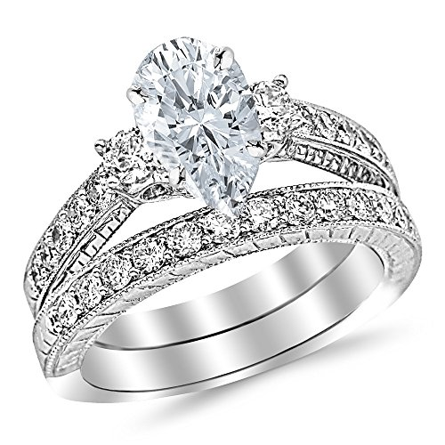1.53 Ctw 14K White Gold GIA Certified Pear Cut Three Stone Vintage with Milgrain & Filigree Bridal Set with Wedding Band & Diamond Engagement Ring, 0.5 Ct G-H I1 Center ()