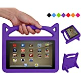 Fire 7 Tablet Case for Kids, SHREBORN Kids Light Weight Shock Proof Protective Cover with Friendly Handle and Foldable Bracket for Kindle Fire 7 inch Tablet(Compatible with 2017 & 2015 Release)-Purple