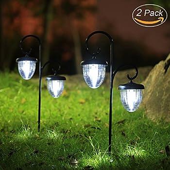 Maggift Hanging Solar Lights Outdoor With Double Shepherd Hook Solar  Landscape Lights Christmas Solar Garden Lights