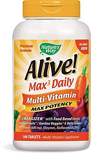 Nature's Way Alive! Max3 Daily Adult Multivitamin, Food-Based Blends (1,060mg per serving) and Antioxidants, No Iron Added, 180 Tablets (2 Bottles)