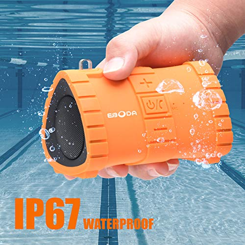 EBODA Portable Bluetooth Speaker, IP67 Waterproof Portable Wireless Speaker,6W and Stereo Sound, Built-in Mic, Hands-Free Calls, 2000mAh Battery, 24H Playtime for Pool, Beach, Hiking, Camping- Orange (Waterproof Bluetooth Speaker Swimming Pool Shower Beach)