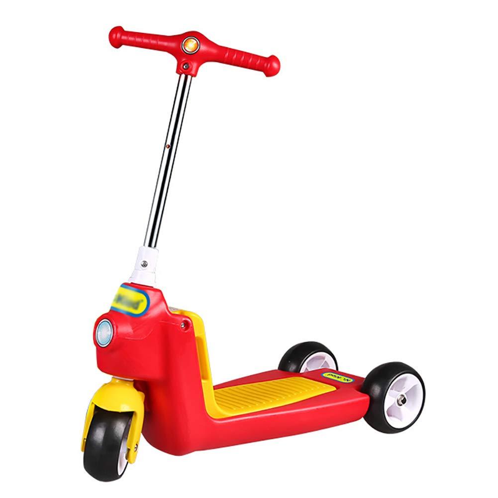 キックボード本体 2-6歳のオールドボーイ/ガールのための2イン1キッズスクーター、ショックアブソービング調節可能なハンドルバーセーフキックスクーターシート、ワイドペダル、負荷40キロ (色 : 青) B07L5C73P8 Red Red