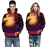 blouse tree,Men Women Mode 3D Print Long Sleeve Halloween Couples Hoodies Top Blouse 3XL,Orange,3XL