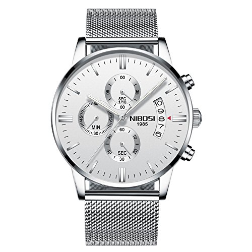 NIBOSI Men's Watches Luxury Chronograph Calendar Waterproof Military Quartz Wristwatches For Men Mesh Alloy Milanese Style Bracelet 2309-GKMBwd (Mesh White Dial Watch)