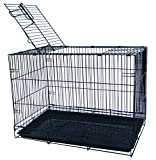 YML Pet Kennel with Wire Body and Plastic Tray (1 Pack), Small, Black