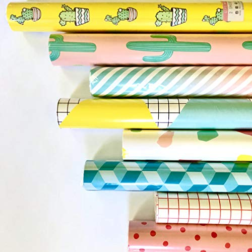 Wrapping Paper Collection - 8 Rolls - Yellow Cactus, Pink Cactus, Ombre, Birthday Banner, Brush Stroke, Teal Hexagon, Red & White Minimalist Grid, and Blush Polka Dot