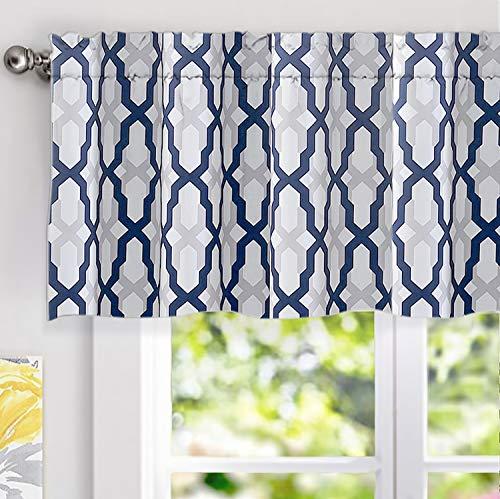 DriftAway Mason Geometric Trellis Pattern Window Curtain Valance Rod Pocket 52 Inch by 18 Inch Plus 2 Inch Header Navy