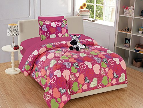 (MK Home Mk Collection 6pc Twin Comforter Set Hearts Peace Signs Zebra Hot Pink Purple Green White Black Red Light Pink New)