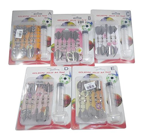 JJMG 3D Jelly Cake Needle Tips 5-Set DIY Gelatin Art Flower Needles Baking Pastry Tool with Syringe Jello Cake Stainless Steel Tips Tools (ABCDE 5 x 10pcs/set = total 50 tips)