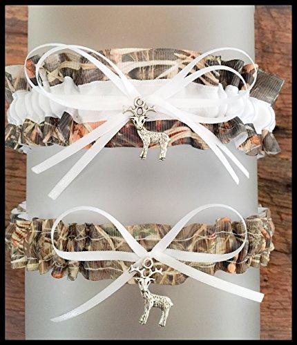 Sexy Camouflage White Satin Camo Wedding Bridal Garter SET - Deer -