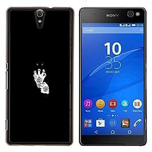 EJOOY---Cubierta de la caja de protección para la piel dura ** Sony Xperia C5 Ultra ** --Diablo en guantes blancos