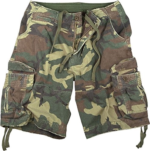 Camouflage Vintage Military Infantry Utility Cargo Shorts (Shorts Spandex Woodland)