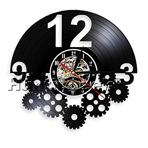 The Geeky Days Steampunk Shaped Gear Wall Clock Mechanism Gears Designed Cogwheel Vinyl Record Clock Home Interior Wall Decor Mural Housewares Wall Art