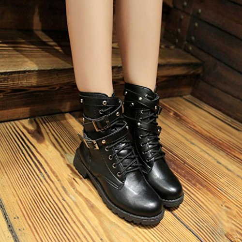 Leather Lace Elegant Ankle Soft Shoes Martin Boots Flat Up DEELIN Female Schuhe Schwarz Sommer Damen Damen 7Pz0IwqW