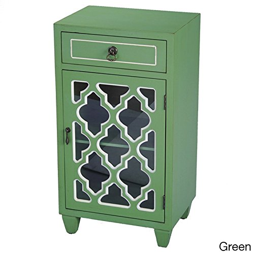 Heather Ann Creations Single Drawer Distressed Storage Cabinet with Multi Clover Glass Window Inserts, 30