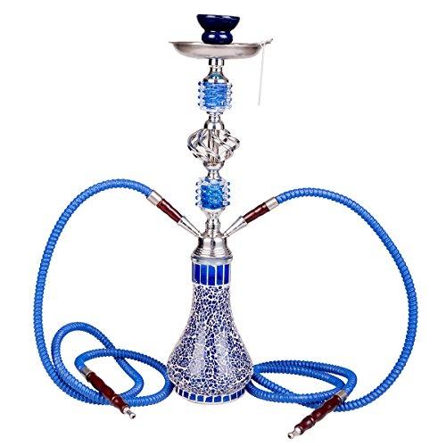 DXP Wasserpfeife Shisha Hookah mit 2 Schläuchen ca.55cm inkl. Kohlezange, Tonkopf Zubehör JYH04 Blau